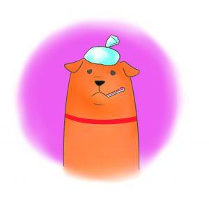 生病的狗狗(擬人 頭頂水袋 嘴巴含溫度計)