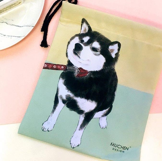 柴犬趣味雜貨-不想回家束口袋