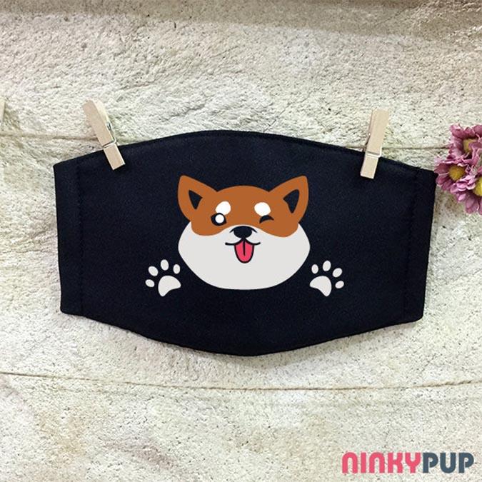柴犬趣味雜貨-反光口罩-柴犬say-hi