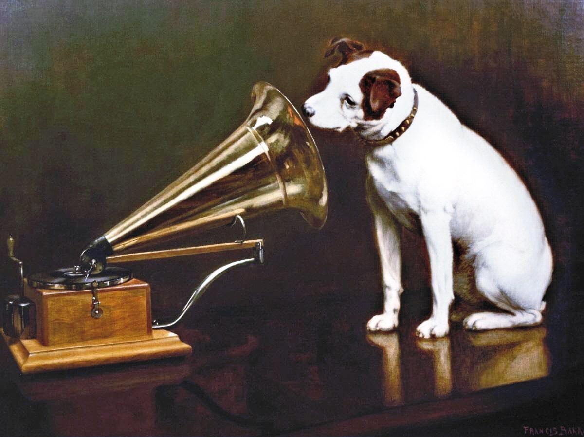 傑克羅素㹴Nipper探索留聲機的情景,成為音樂史上最具代表性的Logo